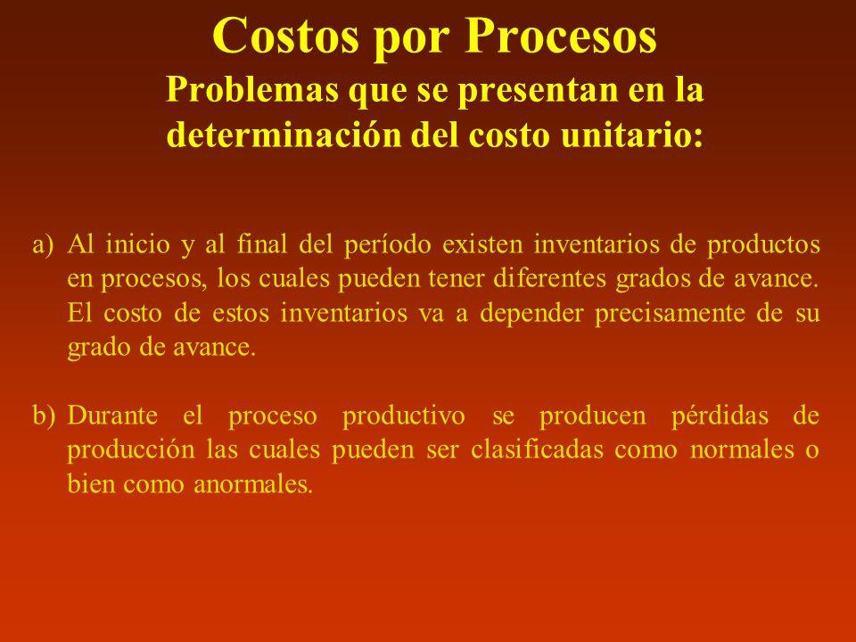 Costos por Procesos Problemas que se presentan en la determinación del costo unitario: a)Al inicio y al final del período existen inventarios de produ