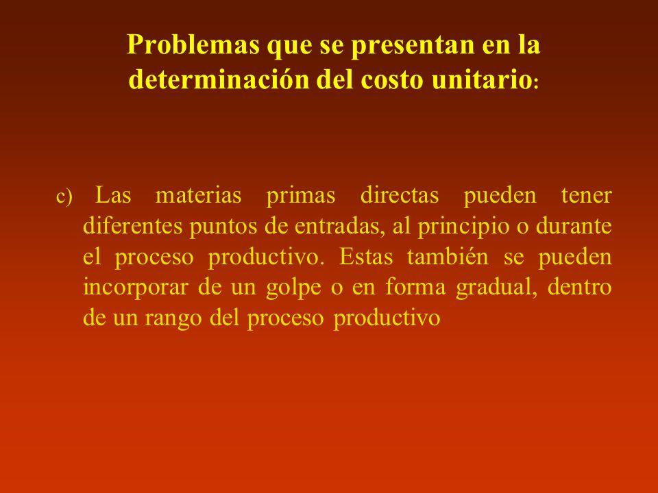 Problemas que se presentan en la determinación del costo unitario : c) Las materias primas directas pueden tener diferentes puntos de entradas, al pri