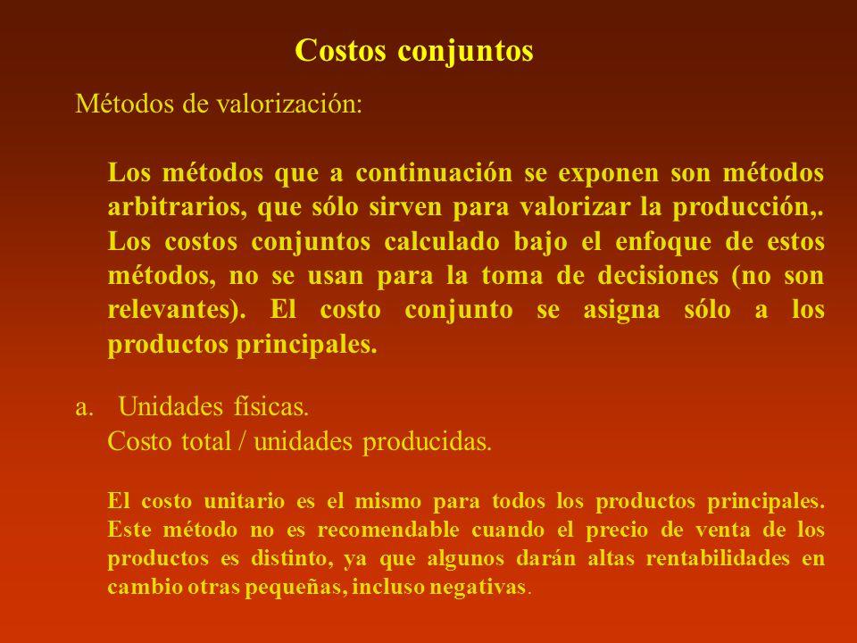 Costos conjuntos Métodos de valorización: Los métodos que a continuación se exponen son métodos arbitrarios, que sólo sirven para valorizar la producc