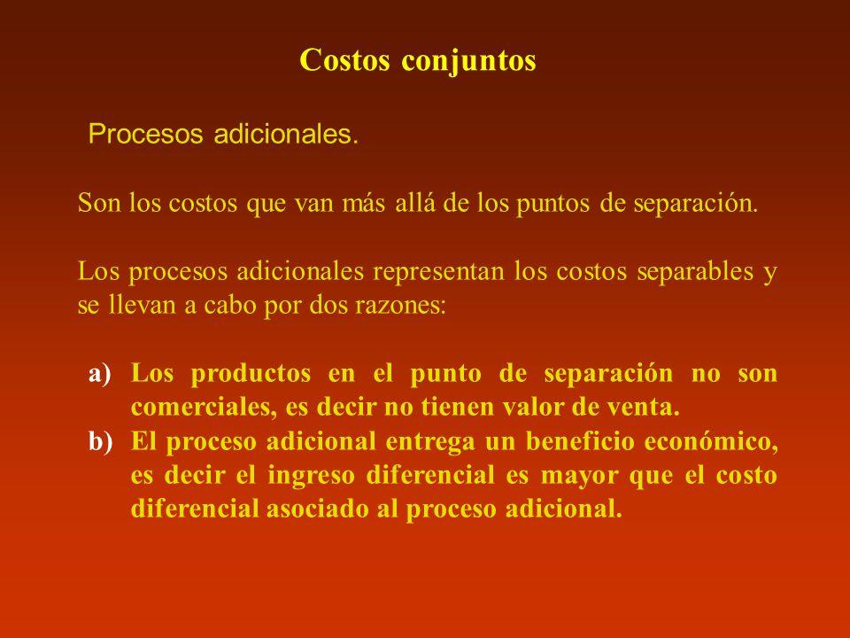 Costos conjuntos Procesos adicionales. Son los costos que van más allá de los puntos de separación. Los procesos adicionales representan los costos se