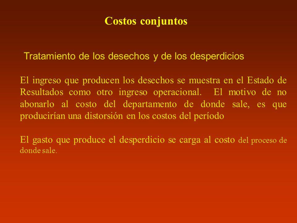 Costos conjuntos Tratamiento de los desechos y de los desperdicios El ingreso que producen los desechos se muestra en el Estado de Resultados como otr