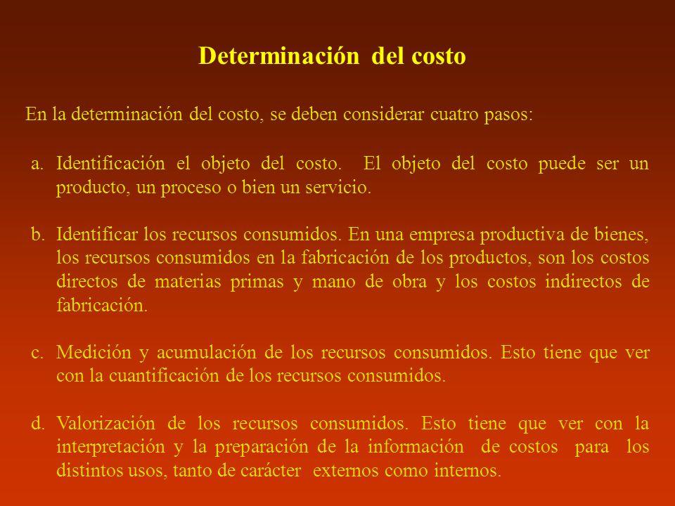En la determinación del costo, se deben considerar cuatro pasos: a.Identificación el objeto del costo. El objeto del costo puede ser un producto, un p