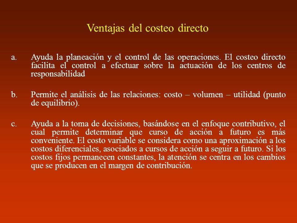 Ventajas del costeo directo a.Ayuda la planeación y el control de las operaciones. El costeo directo facilita el control a efectuar sobre la actuación