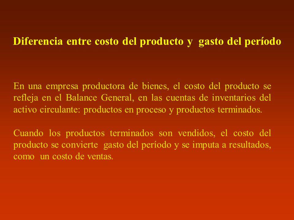 Diferencia entre costo del producto y gasto del período En una empresa productora de bienes, el costo del producto se refleja en el Balance General, e