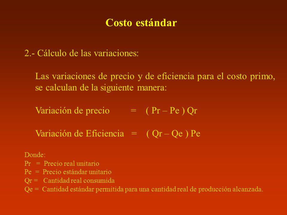 Costo estándar 2.- Cálculo de las variaciones: Las variaciones de precio y de eficiencia para el costo primo, se calculan de la siguiente manera: Vari