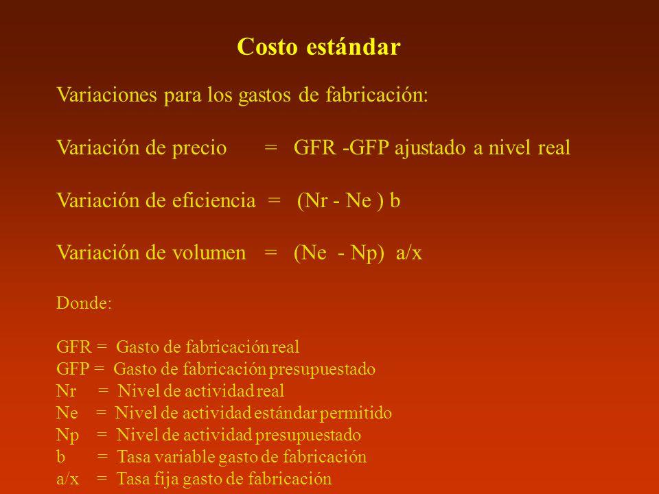 Costo estándar Variaciones para los gastos de fabricación: Variación de precio = GFR -GFP ajustado a nivel real Variación de eficiencia = (Nr - Ne ) b