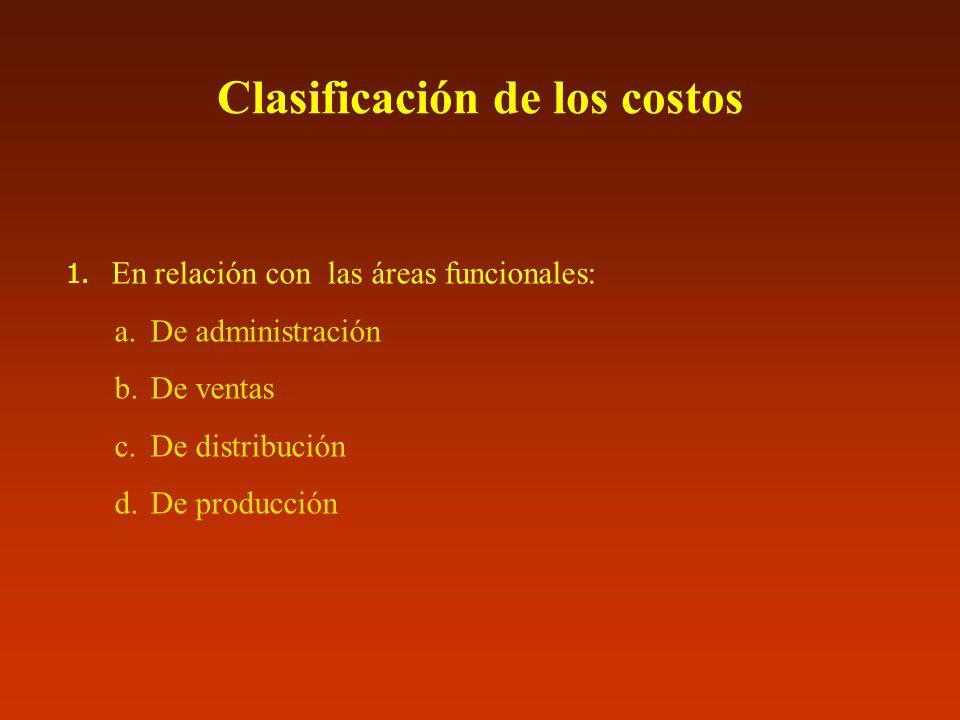 Clasificación de los costos 1. En relación con las áreas funcionales: a.De administración b.De ventas c.De distribución d.De producción