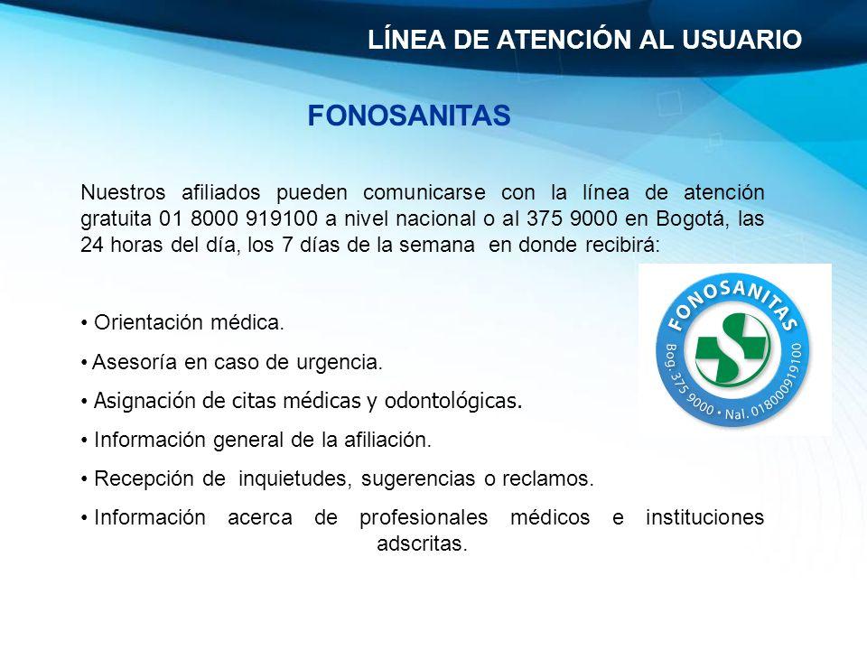 Nuestros afiliados pueden comunicarse con la línea de atención gratuita 01 8000 919100 a nivel nacional o al 375 9000 en Bogotá, las 24 horas del día,