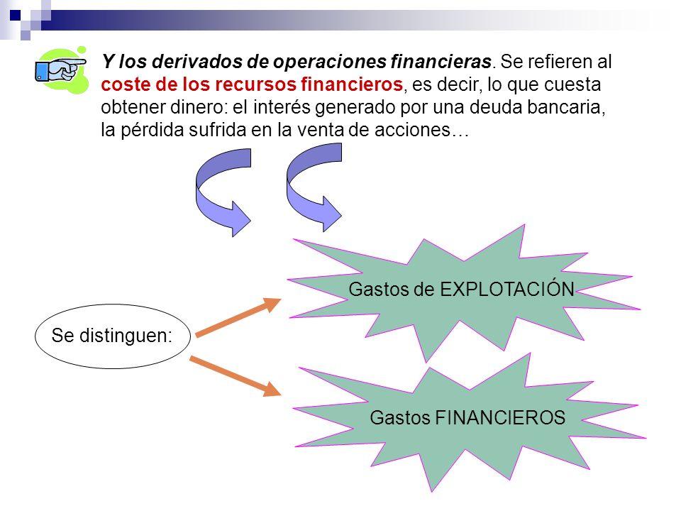 Y los derivados de operaciones financieras. Se refieren al coste de los recursos financieros, es decir, lo que cuesta obtener dinero: el interés gener