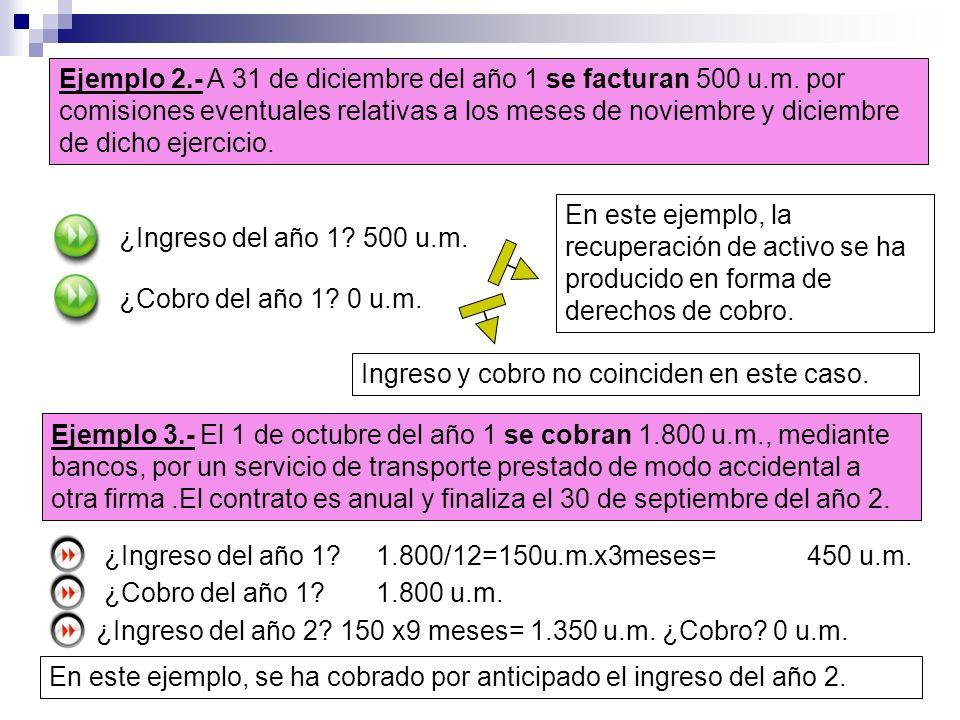 Ejemplo 2.- A 31 de diciembre del año 1 se facturan 500 u.m. por comisiones eventuales relativas a los meses de noviembre y diciembre de dicho ejercic