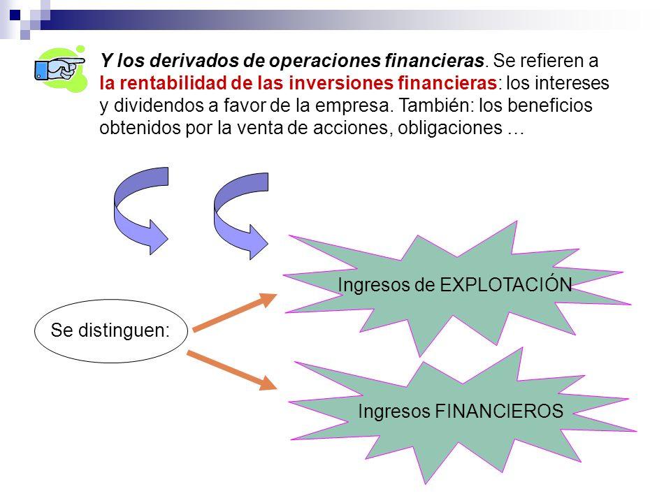 Y los derivados de operaciones financieras. Se refieren a la rentabilidad de las inversiones financieras: los intereses y dividendos a favor de la emp