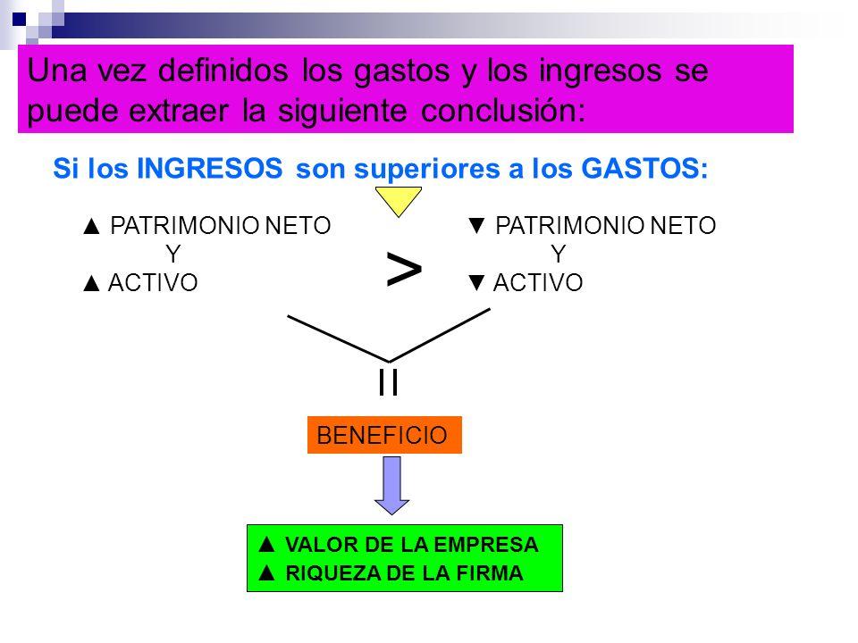 Una vez definidos los gastos y los ingresos se puede extraer la siguiente conclusión: Si los INGRESOS son superiores a los GASTOS: PATRIMONIO NETO Y A