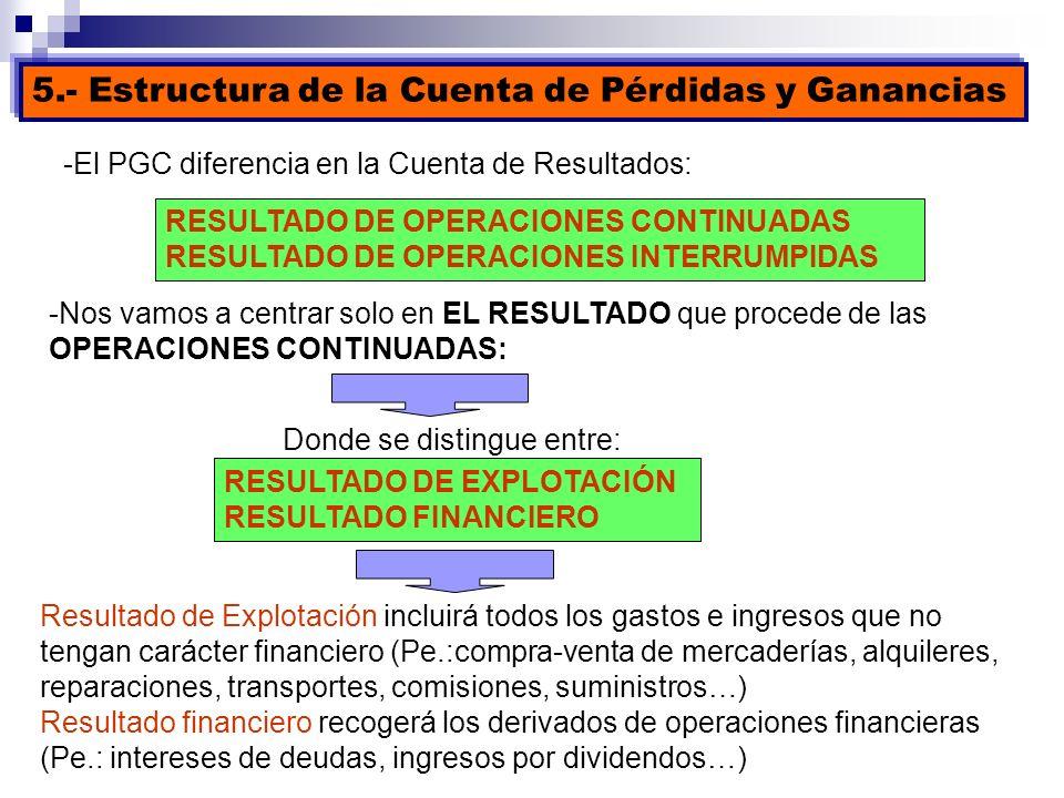 -El PGC diferencia en la Cuenta de Resultados: RESULTADO DE OPERACIONES CONTINUADAS RESULTADO DE OPERACIONES INTERRUMPIDAS -Nos vamos a centrar solo e