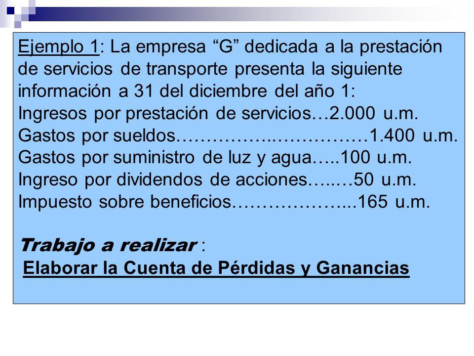 Ejemplo 1: La empresa G dedicada a la prestación de servicios de transporte presenta la siguiente información a 31 del diciembre del año 1: Ingresos p