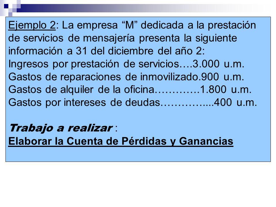 Ejemplo 2: La empresa M dedicada a la prestación de servicios de mensajería presenta la siguiente información a 31 del diciembre del año 2: Ingresos p