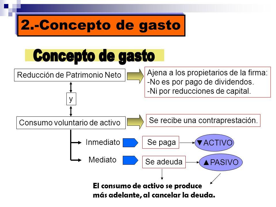 2.-Concepto de gasto Reducción de Patrimonio Neto Ajena a los propietarios de la firma: -No es por pago de dividendos. -Ni por reducciones de capital.