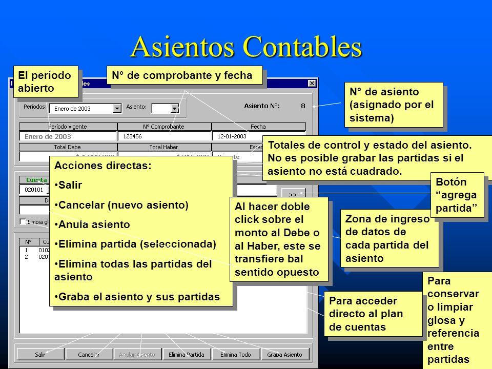 Asientos Contables El período abierto N° de comprobante y fecha N° de asiento (asignado por el sistema) Totales de control y estado del asiento. No es