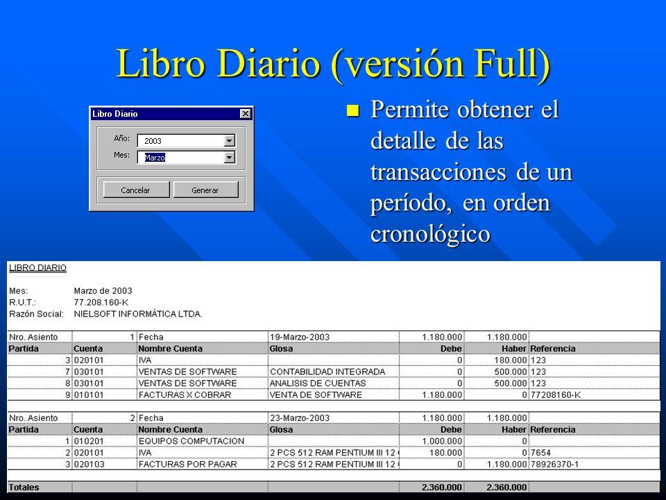 Libro Diario (versión Full) Permite obtener el detalle de las transacciones de un período, en orden cronológico