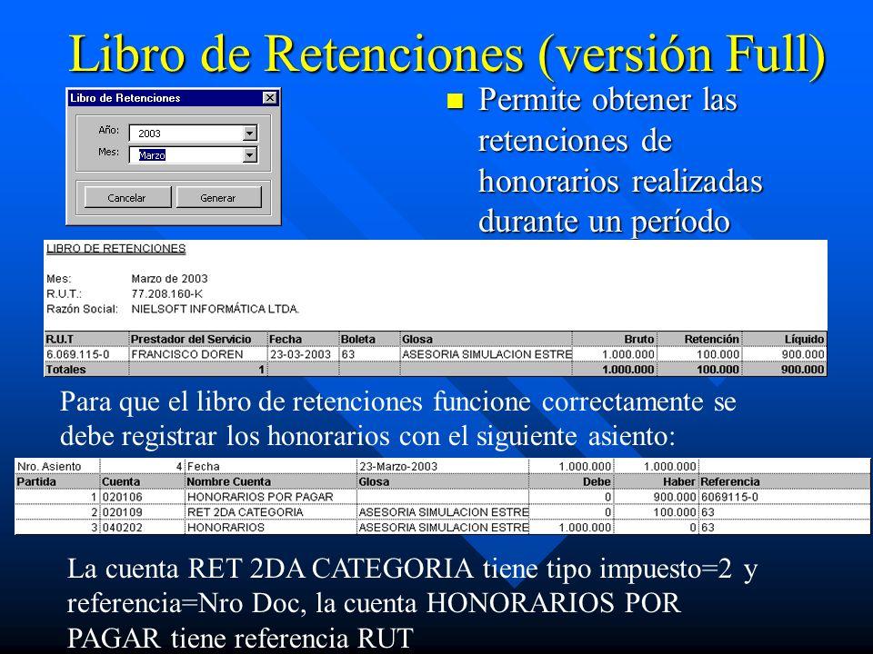 Libro de Retenciones (versión Full) Permite obtener las retenciones de honorarios realizadas durante un período Para que el libro de retenciones funci
