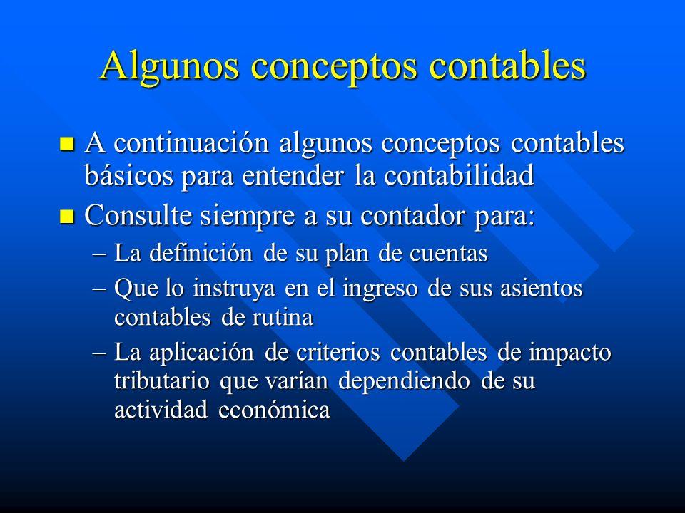 Algunos conceptos contables A continuación algunos conceptos contables básicos para entender la contabilidad A continuación algunos conceptos contable