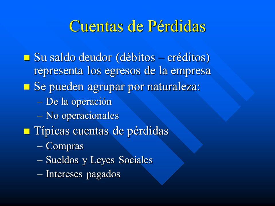Cuentas de Pérdidas Su saldo deudor (débitos – créditos) representa los egresos de la empresa Su saldo deudor (débitos – créditos) representa los egre