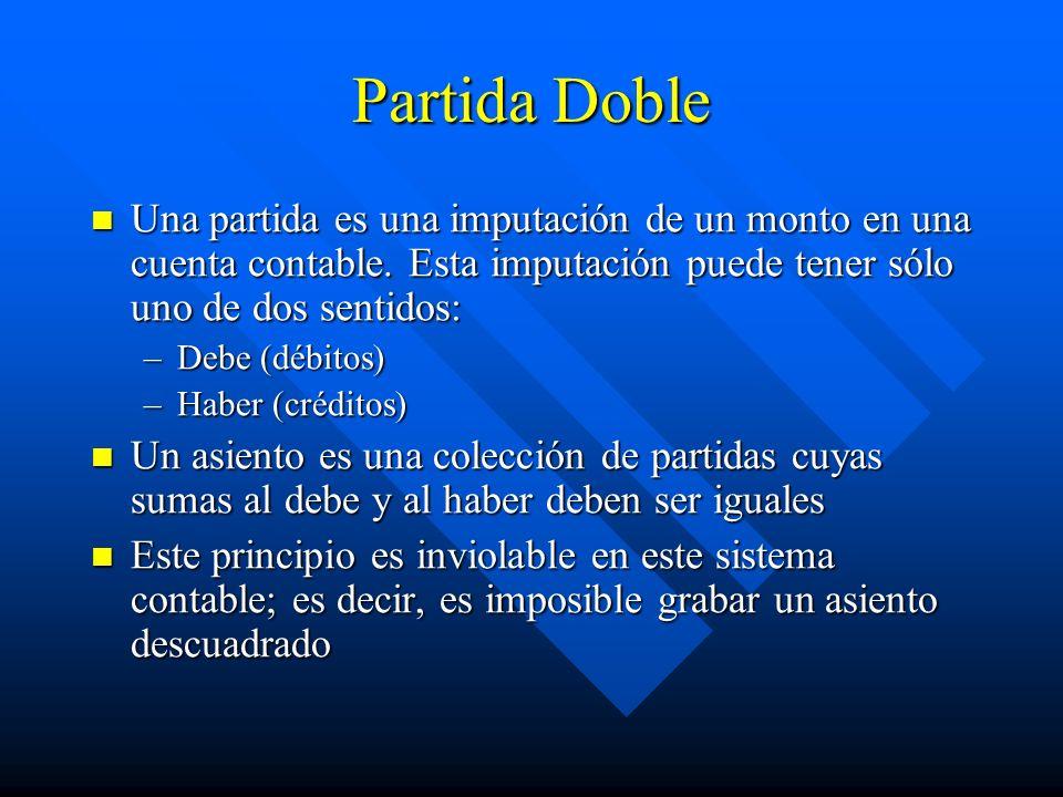Partida Doble Una partida es una imputación de un monto en una cuenta contable. Esta imputación puede tener sólo uno de dos sentidos: Una partida es u