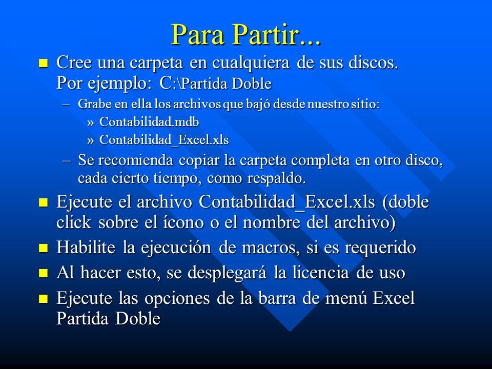 Para Partir... Cree una carpeta en cualquiera de sus discos. Por ejemplo: C :\Partida Doble Cree una carpeta en cualquiera de sus discos. Por ejemplo: