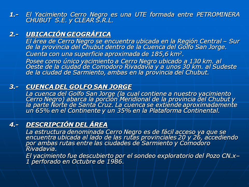 1.-El Yacimiento Cerro Negro es una UTE formada entre PETROMINERA CHUBUT S.E. y CLEAR S.R.L. 2.- UBICACIÓN GEOGRÁFICA El área de Cerro Negro se encuen