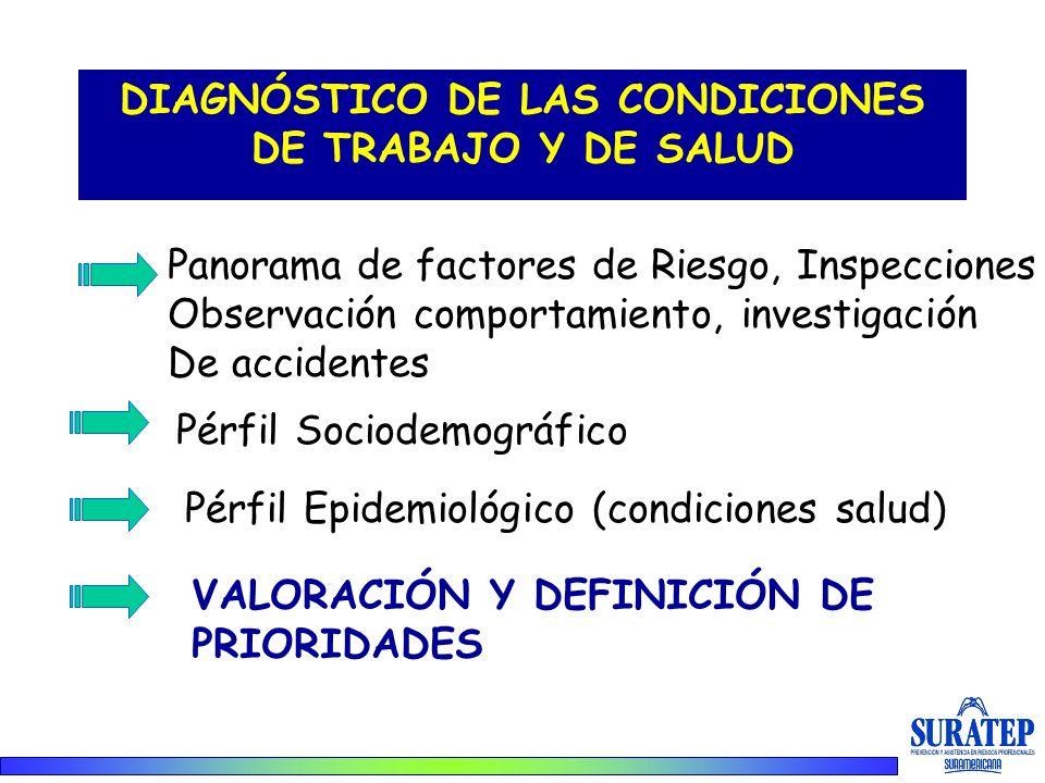 DIAGNÓSTICO DE LAS CONDICIONES DE TRABAJO Y DE SALUD Panorama de factores de Riesgo, Inspecciones Observación comportamiento, investigación De acciden