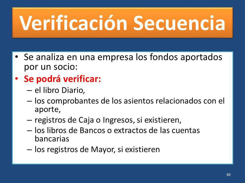 Verificación Secuencia Se analiza en una empresa los fondos aportados por un socio: Se podrá verificar: – el libro Diario, – los comprobantes de los a