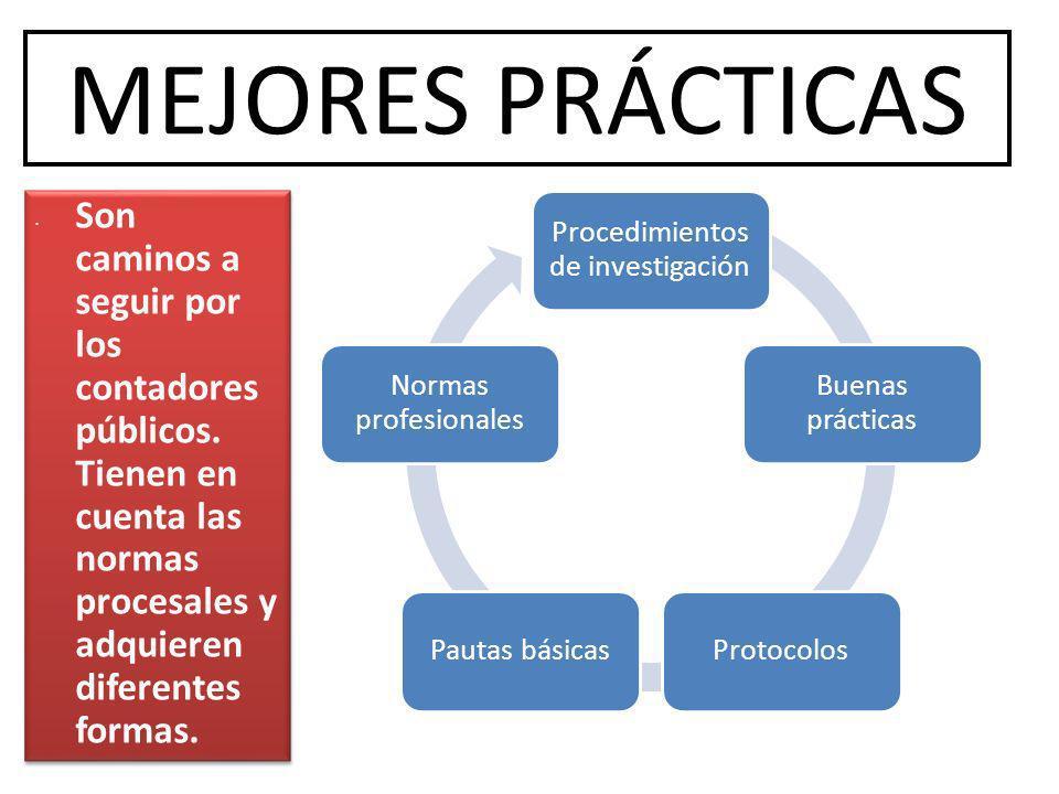 MEJORES PRÁCTICAS Procedimientos de investigación Buenas prácticas ProtocolosPautas básicas Normas profesionales Son caminos a seguir por los contador