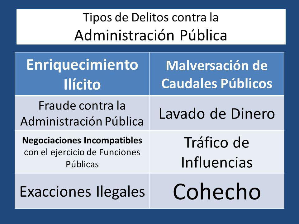 Tipos de Delitos contra la Administración Pública Enriquecimiento Ilícito Malversación de Caudales Públicos Fraude contra la Administración Pública La