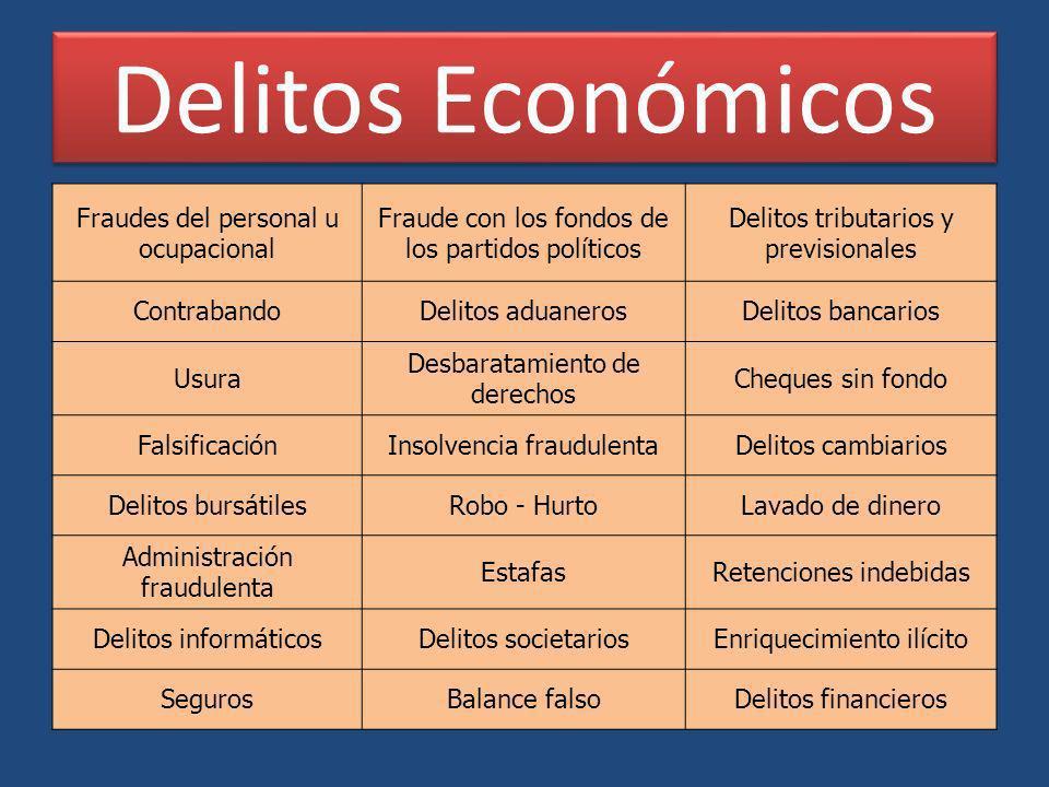 Delitos Económicos Fraudes del personal u ocupacional Fraude con los fondos de los partidos políticos Delitos tributarios y previsionales ContrabandoD