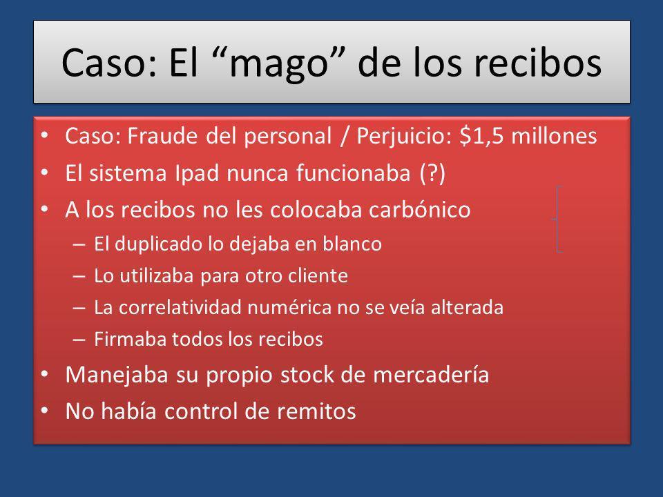 Caso: El mago de los recibos Caso: Fraude del personal / Perjuicio: $1,5 millones El sistema Ipad nunca funcionaba (?) A los recibos no les colocaba c