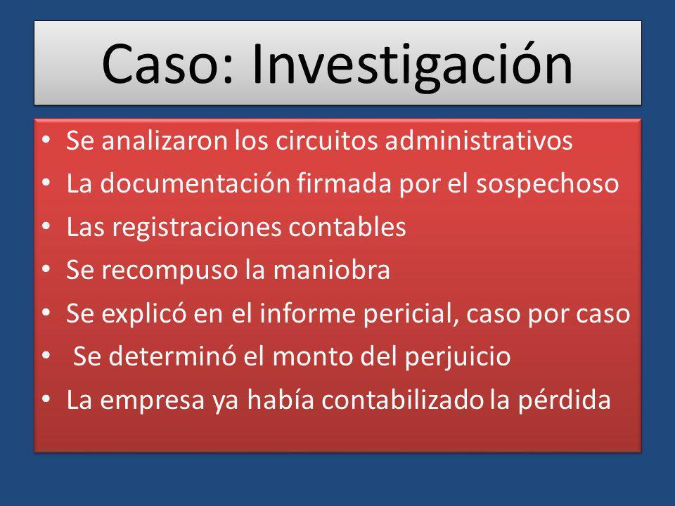 Caso: Investigación Se analizaron los circuitos administrativos La documentación firmada por el sospechoso Las registraciones contables Se recompuso l