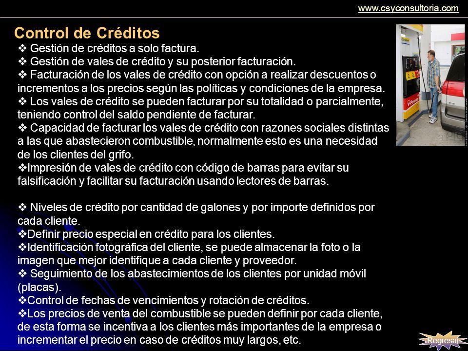 Control de Créditos Gestión de créditos a solo factura. Gestión de vales de crédito y su posterior facturación. Facturación de los vales de crédito co