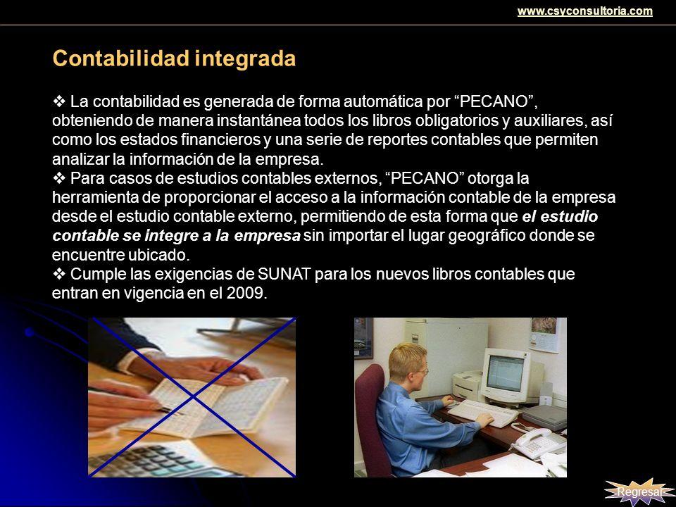 Contabilidad integrada La contabilidad es generada de forma automática por PECANO, obteniendo de manera instantánea todos los libros obligatorios y au