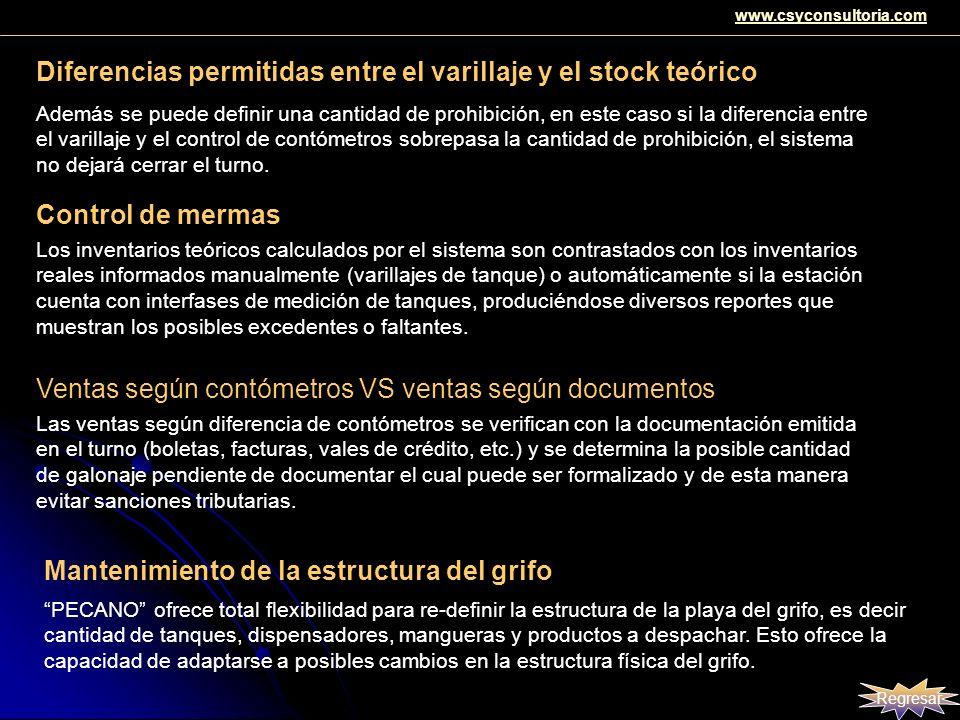 Diferencias permitidas entre el varillaje y el stock teórico Además se puede definir una cantidad de prohibición, en este caso si la diferencia entre