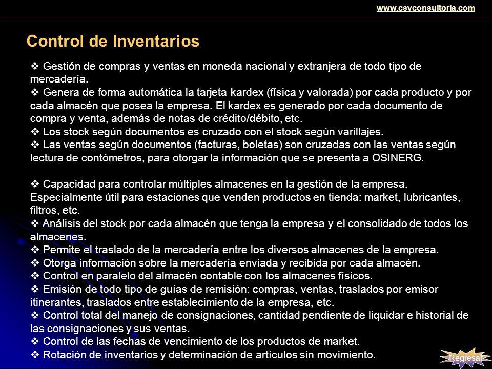 Control de Inventarios Gestión de compras y ventas en moneda nacional y extranjera de todo tipo de mercadería. Genera de forma automática la tarjeta k