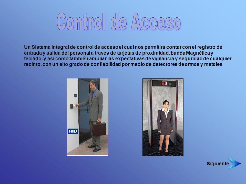 Un Sistema integral de control de acceso el cual nos permitirá contar con el registro de entrada y salida del personal a través de tarjetas de proximi