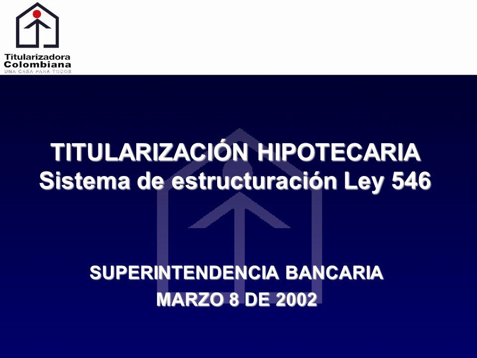 TITULARIZACIÓN HIPOTECARIA Sistema de estructuración Ley 546 SUPERINTENDENCIA BANCARIA MARZO 8 DE 2002