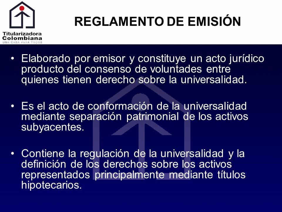 REGLAMENTO DE EMISIÓN Elaborado por emisor y constituye un acto jurídico producto del consenso de voluntades entre quienes tienen derecho sobre la uni