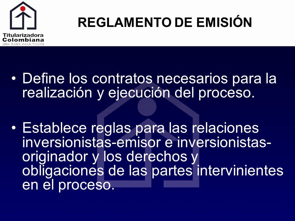 REGLAMENTO DE EMISIÓN Define los contratos necesarios para la realización y ejecución del proceso. Establece reglas para las relaciones inversionistas