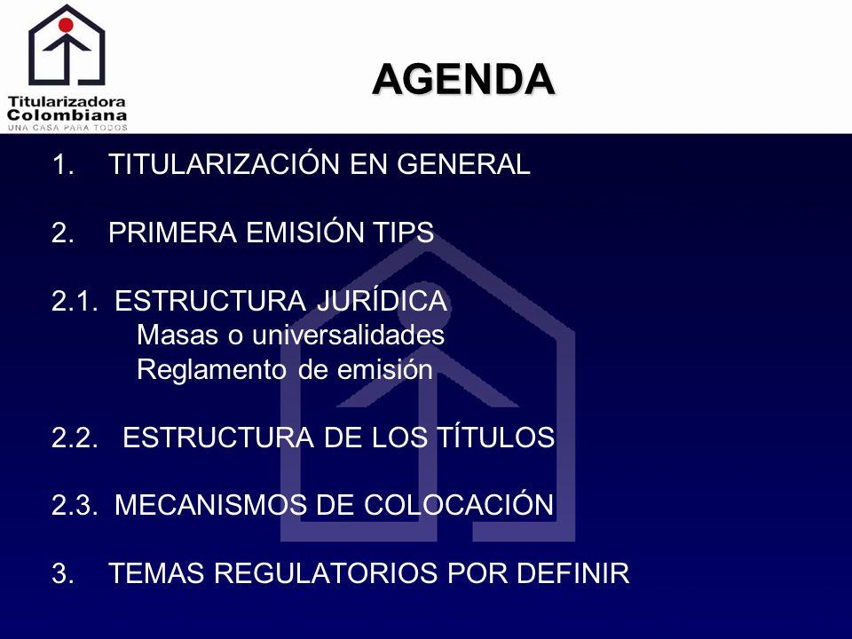 AGENDA 1.TITULARIZACIÓN EN GENERAL 2.PRIMERA EMISIÓN TIPS 2.1. ESTRUCTURA JURÍDICA Masas o universalidades Reglamento de emisión 2.2. ESTRUCTURA DE LO