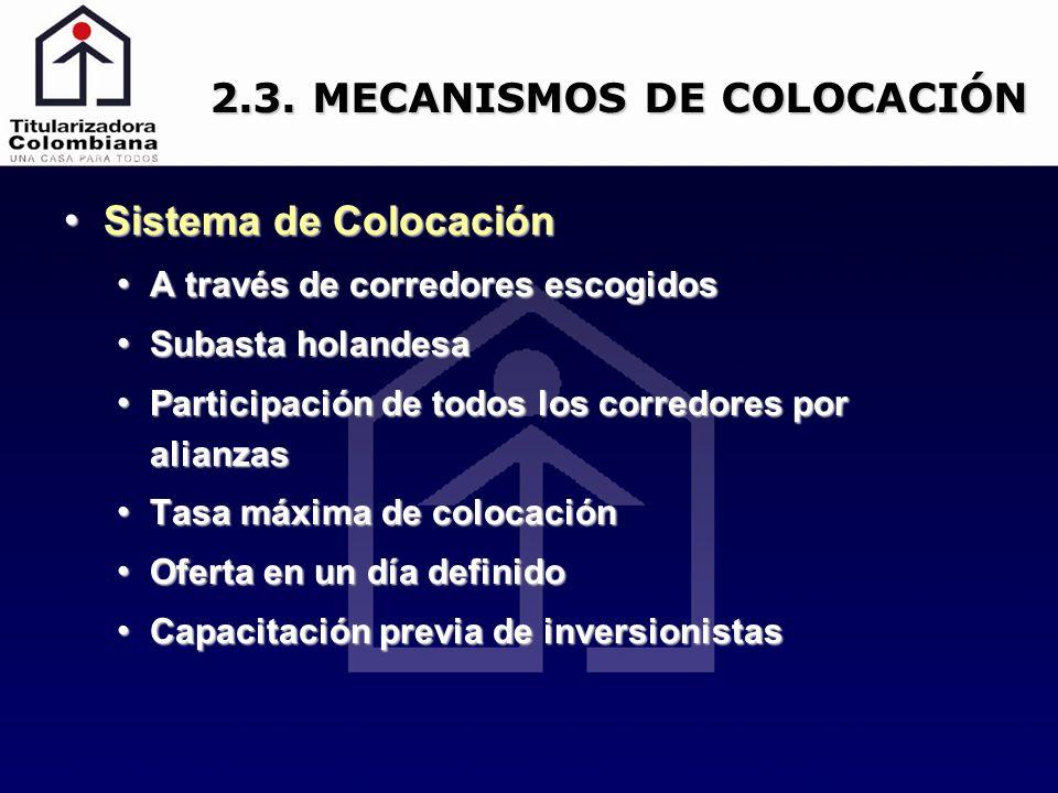2.3. MECANISMOS DE COLOCACIÓN Sistema de Colocación Sistema de Colocación A través de corredores escogidos A través de corredores escogidos Subasta ho