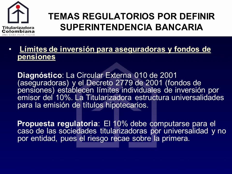 TEMAS REGULATORIOS POR DEFINIR SUPERINTENDENCIA BANCARIA Límites de inversión para aseguradoras y fondos de pensiones Diagnóstico: La Circular Externa