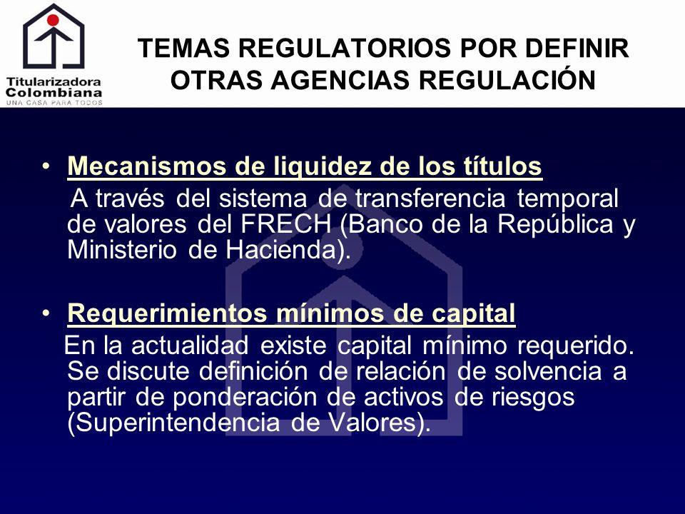 TEMAS REGULATORIOS POR DEFINIR OTRAS AGENCIAS REGULACIÓN Mecanismos de liquidez de los títulos A través del sistema de transferencia temporal de valor