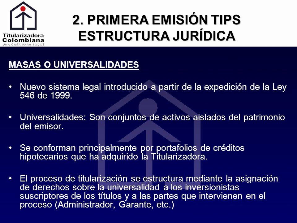 2. PRIMERA EMISIÓN TIPS ESTRUCTURA JURÍDICA MASAS O UNIVERSALIDADES Nuevo sistema legal introducido a partir de la expedición de la Ley 546 de 1999. U