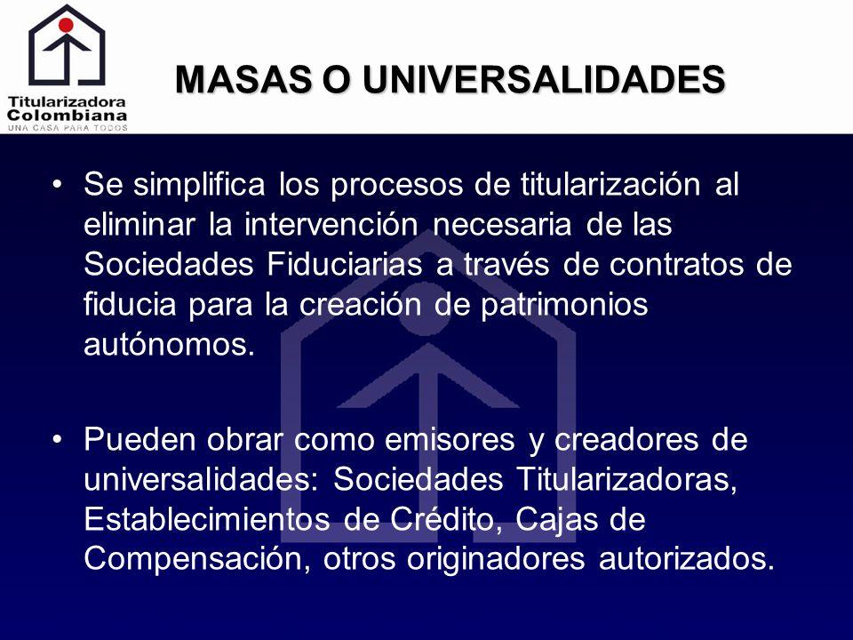MASAS O UNIVERSALIDADES Se simplifica los procesos de titularización al eliminar la intervención necesaria de las Sociedades Fiduciarias a través de c