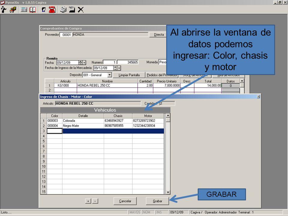 Al abrirse la ventana de datos podemos ingresar: Color, chasis y motor GRABAR